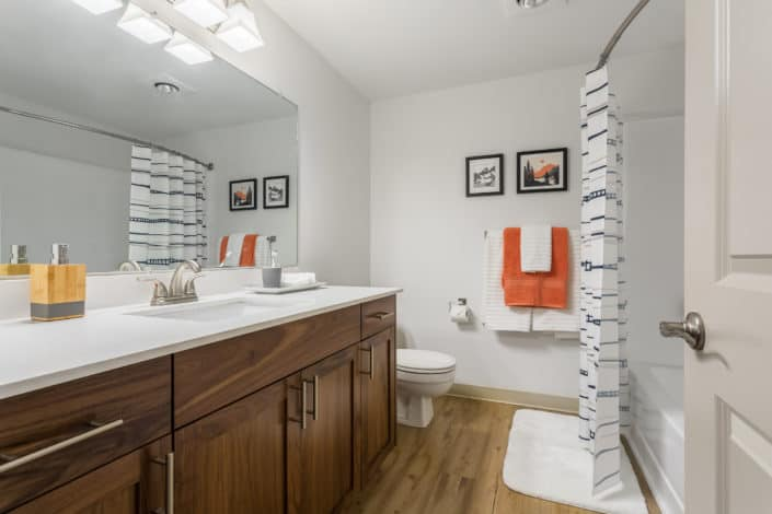 Beautiful new bathrooms. Artesia Apartments, Everett, WA